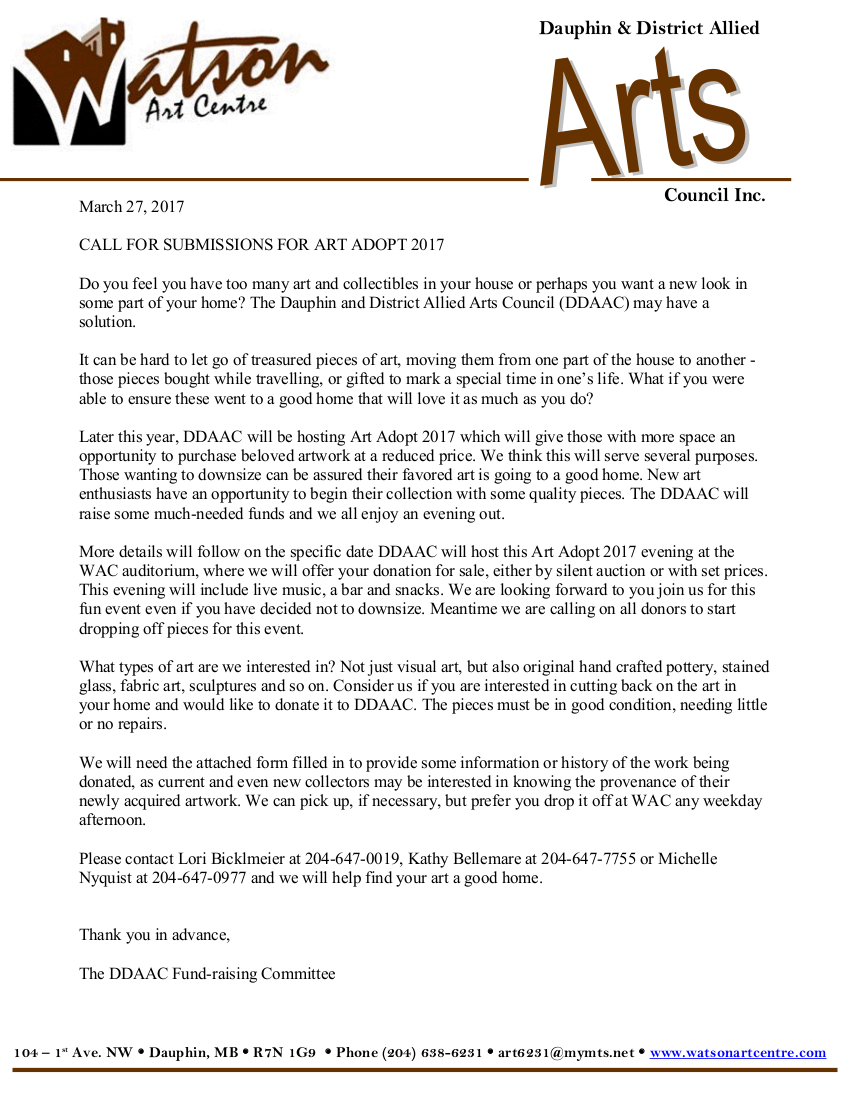2017 Art Adopt Letter for Donations